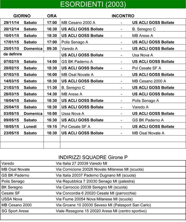 Calendario Esordienti 2003 per l'anno 2014-2015  Print Page