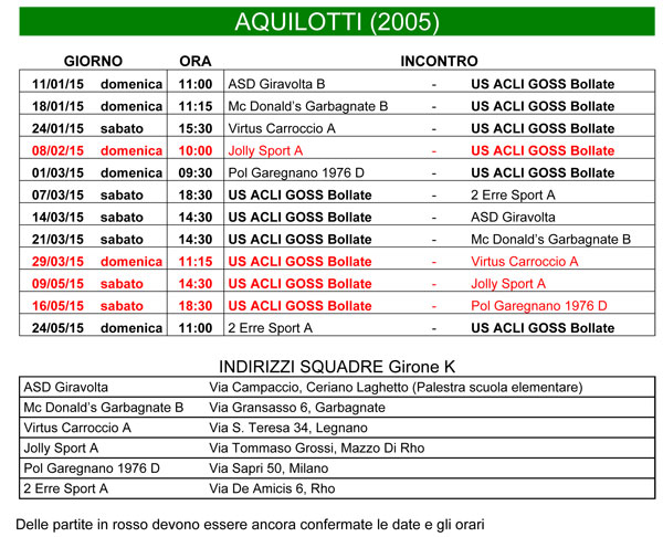 Calendario Anno 2015.Calendario Aquilotti 2005 Per L Anno 2014 2015