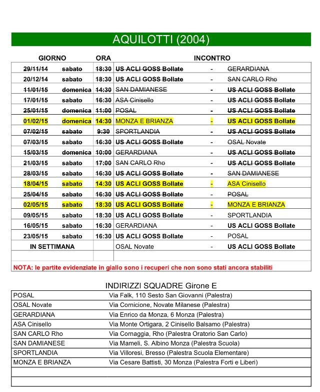 Calendario Anno 2015.Calendario Aquilotti 2004 Per L Anno 2014 2015