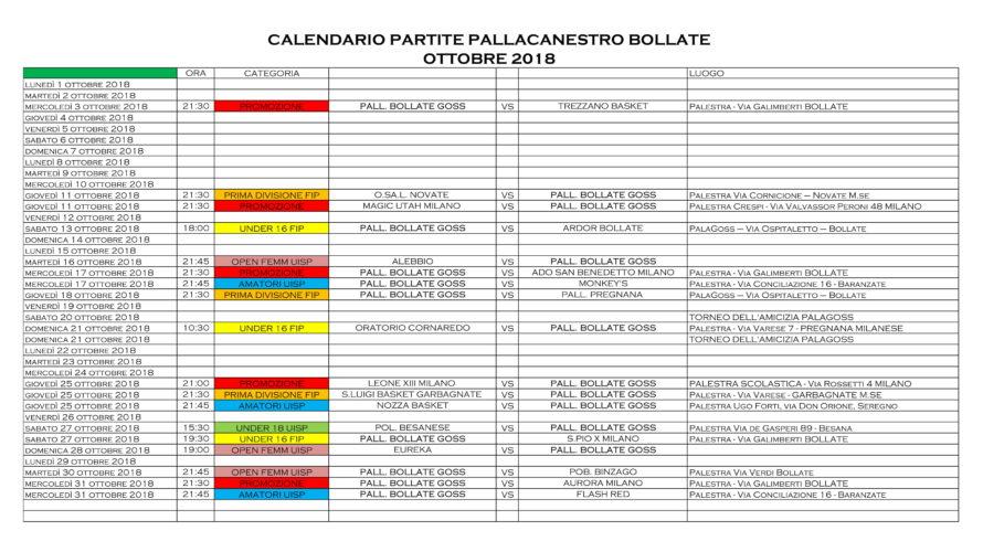 Il calendario delle partite del mese di Ottobre