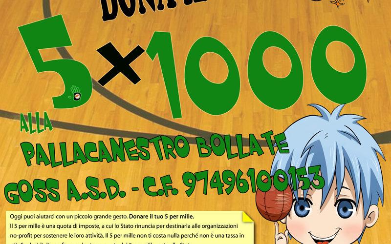Il tuo sostegno per i nostri ragazzi.Dona il 5×1000 alla Pallacanestro Bollate Goss, basta inserire nel riquadro dedicato al Sostegno del volontariato e della altre organizziazioni non lucrative di utilità […]